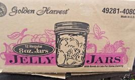 12 GOLDEN HARVEST JELLY JARS 8 oz w/ BANDS & LIDS UNUSED FOR HOME CANNING - $11.73