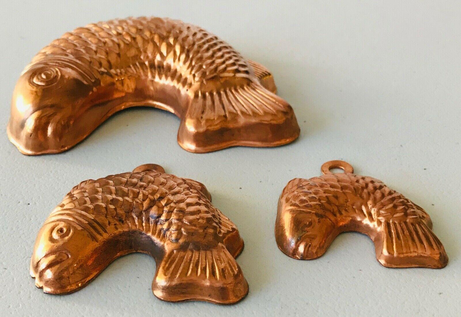 3 Mini Copper Tin Fish Molds Chocolate Dollhouse Kitchen Decor Ornaments