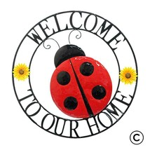 """""""Welcome To Our Home"""" Ladybug Design Metal Wall Plaque - 22"""" Diameter Round"""