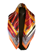 St. Germain 100% Mulberry Silk Scarf Hand Rolled Hem Orange FREE SCARF RING - $42.00