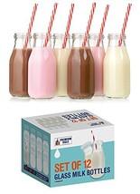 Premium Vials, 11 Oz Glass Milk Bottle Set of 12 - Includes Reusable Whi... - $24.21