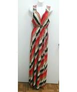 Cocomo Womens Medium Dress Red Brown Stripes Maxi Sleeveless V-neck  B264 - $19.99