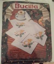New Bucilla Stamped Cross Stitch Kit Christmas Music Set Of 8 Napkins - $14.03