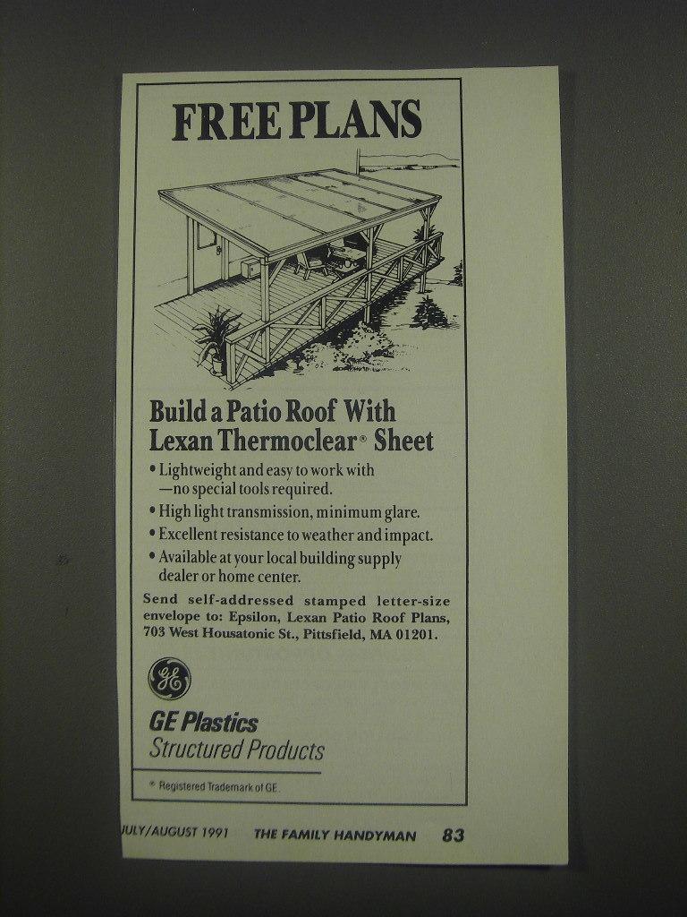 1991 GE Plastics Lexan Thermoclear Sheet Ad - Free Plans