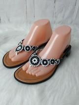 Montego Bay Club Women's Sandals Shoes Black White Thong Toe Slides Size... - $14.01
