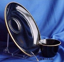 Black Glass 2 piece Northwood Plate Cup Bowl Cocktail Antipasto Sandwich... - $16.99