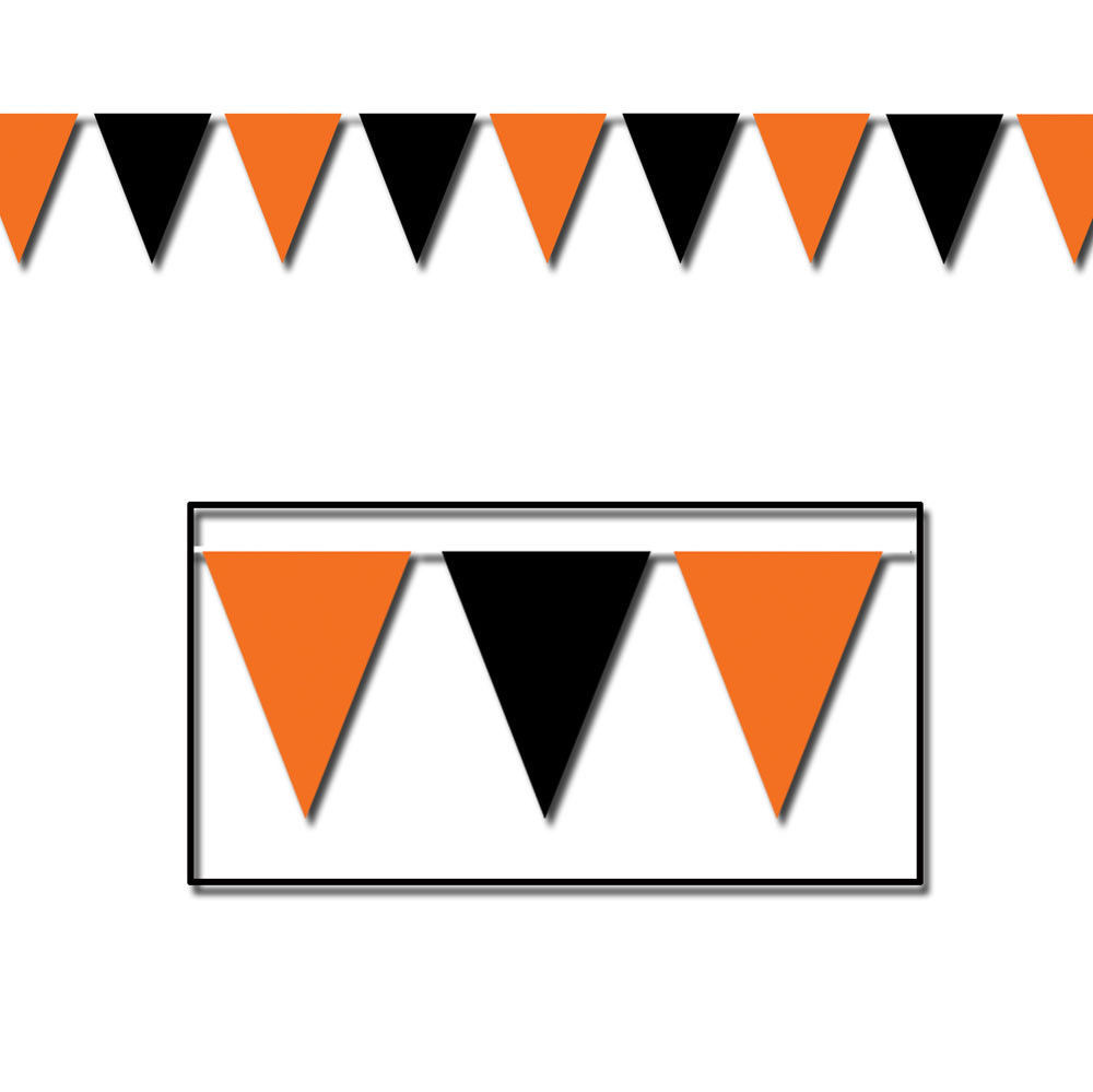 30 ft heavy duty Outdoor All Weather black and orange Pennant Banner flags