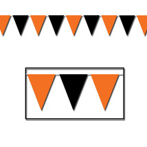 30 ft heavy duty Outdoor All Weather black and orange Pennant Banner flags - $9.89