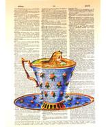 Art N Wordz Alice Wonderland Teacup Original Dictionary Page Pop Art Wal... - $21.00