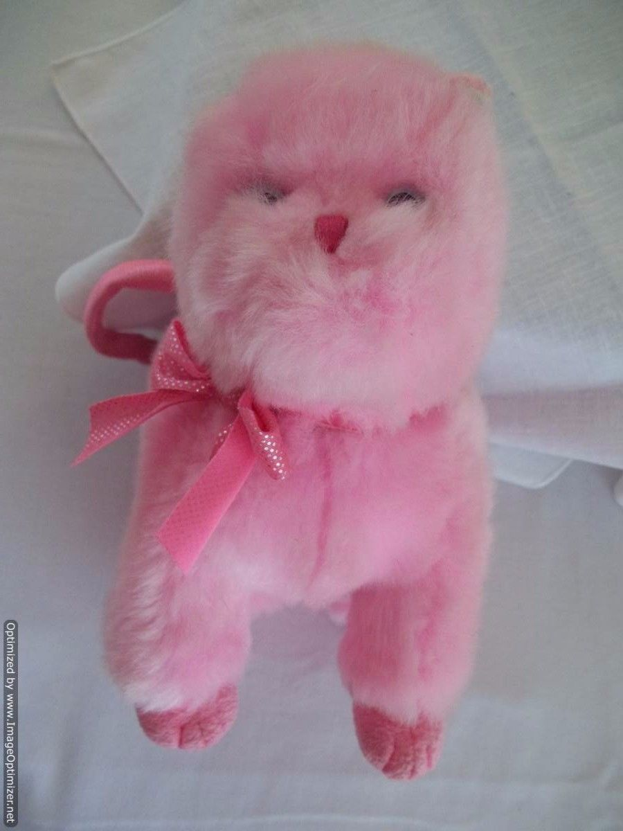 TY Beanie PINKS Babies 3004 Pink Kitty Cat Purse - Pink - Excellent Pre-Owned