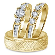 14k Yellow Gold Fn 1 1/4 Ct Diamond 3 Piece Three Stone Trio Engagement Ring Set - $172.68