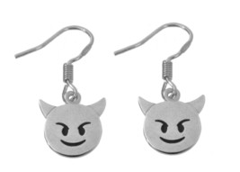 Sterling Silver 925 Earrings Emoji Halloween Devil Bad Smiling Face with... - $18.10
