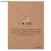 I Love You Necklaces & Pendants Fashion New Gold Silver Color Heart Luck... - $7.83