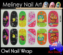 Owl Full Cover Glitter Nail Art Wraps Stickers Pattern cartoon Birds Ani... - $5.40