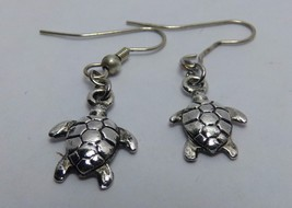 "Water Turtle Tortoise Dangle Earrings 5/8"" Silver Tone Hook - $12.99"