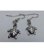 """Water Turtle Tortoise Dangle Earrings 5/8"""" Silver Tone Hook - $12.99"""