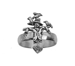 Sterling Silver 925 Halloween Scarecrow ring Jewelry Crow Pick Your Size... - $30.26