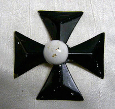 Vintage Maltese Cross Brooch Pin Black White Brass Collectible Fashion - $12.00