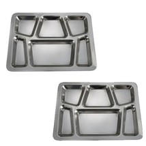 SET OF 2 - 6 Compartment Cafeteria Food Tray, Cafeteria Eating Mess Tray... - $28.63