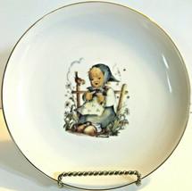 "M. J. Hummel Plate He Loves Me? Original Box 6.75"" Porcelain Girl-Bird-Daisy - $12.87"
