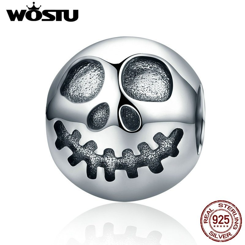Primary image for WOSTU New 925 Sterling Silver Ghost Face Beads Fit Original WST Charm Bracelet A