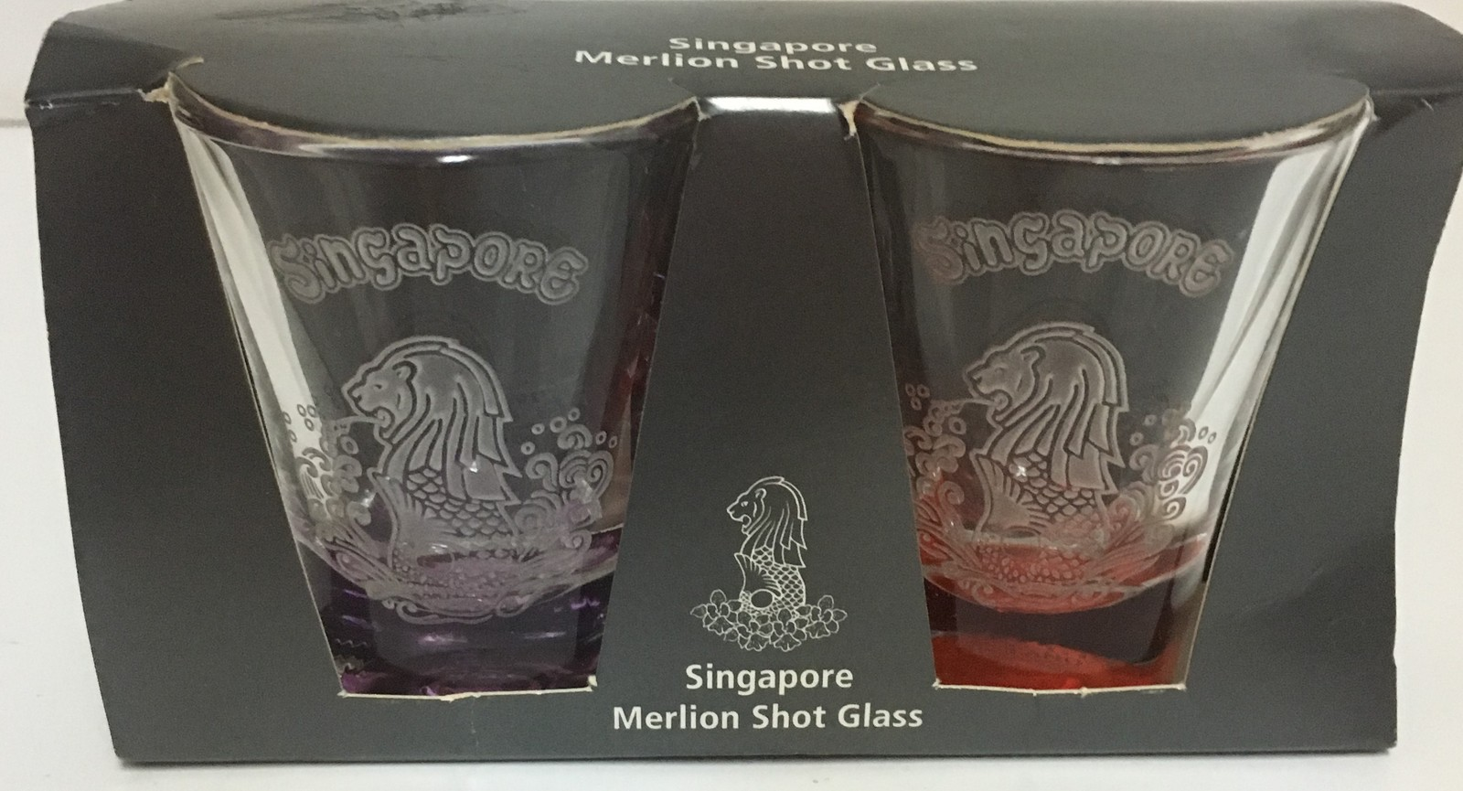 Singapore Merlion Shot Glasses Set of Two New in Box