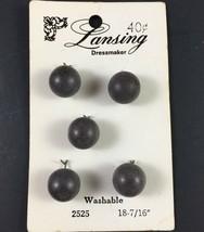 """Lansing Dressmaker 2525 Sz 18 (7/16"""") 5 on Card Gray Vintage Shank Buttons  - $4.21"""