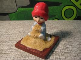 Muffin Figurine Build a Sweet Dream Hallmark 1983 Red Hat Sandbox Child ... - $11.66