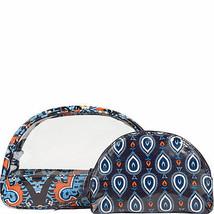 Vera Bradley MARRAKESH Cosmetic Bags Set Small Clear Large Zipper NWT - $17.81