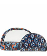 Vera Bradley MARRAKESH Cosmetic Bags Set Small Clear Large Zipper NWT - $16.03