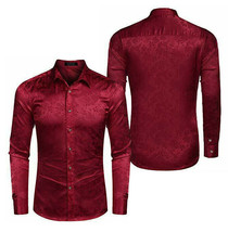 COOFANDY Men's Floral Long Sleeve Shiny Satin Silk Burgundy Dress Shirt - Large image 1