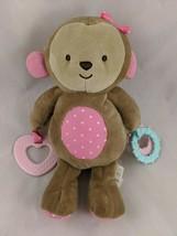 "Carters Child of Mine Monkey Plush Teether Rings 9"" Stuffed Animal toy - $11.66"