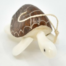 Hand Carved Tagua Nut Carving Sea Turtle Hanging Ornament Handmade in Ecuador image 2