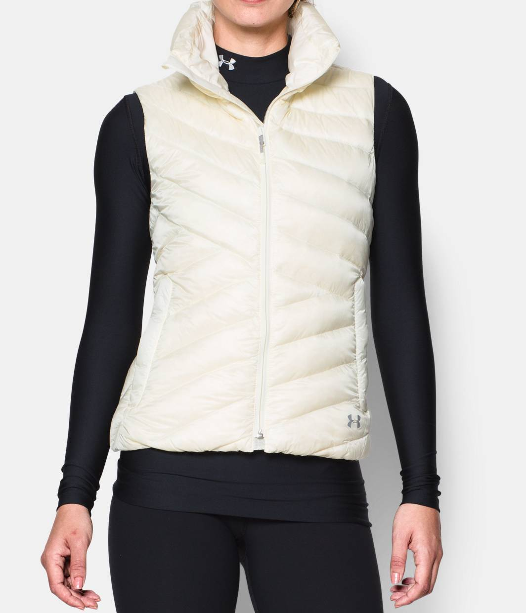 New Womens Under Armour Vest M White Down Warm Puff Infrared Storm NWT Water Res
