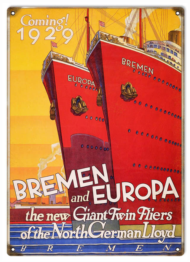 Primary image for 1929 Bremen And Europa Twin Fliers Cruise Ship Advertisement