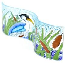 Fused Art Glass Blue Heron Cattails Lake Wavy Decor Piece Handmade in Ecuador image 2