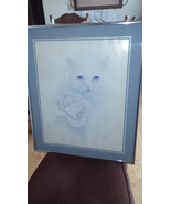 White Cat with Rose Picture by Bob Harrison Framed Matted Kitten Print 2... - $50.99