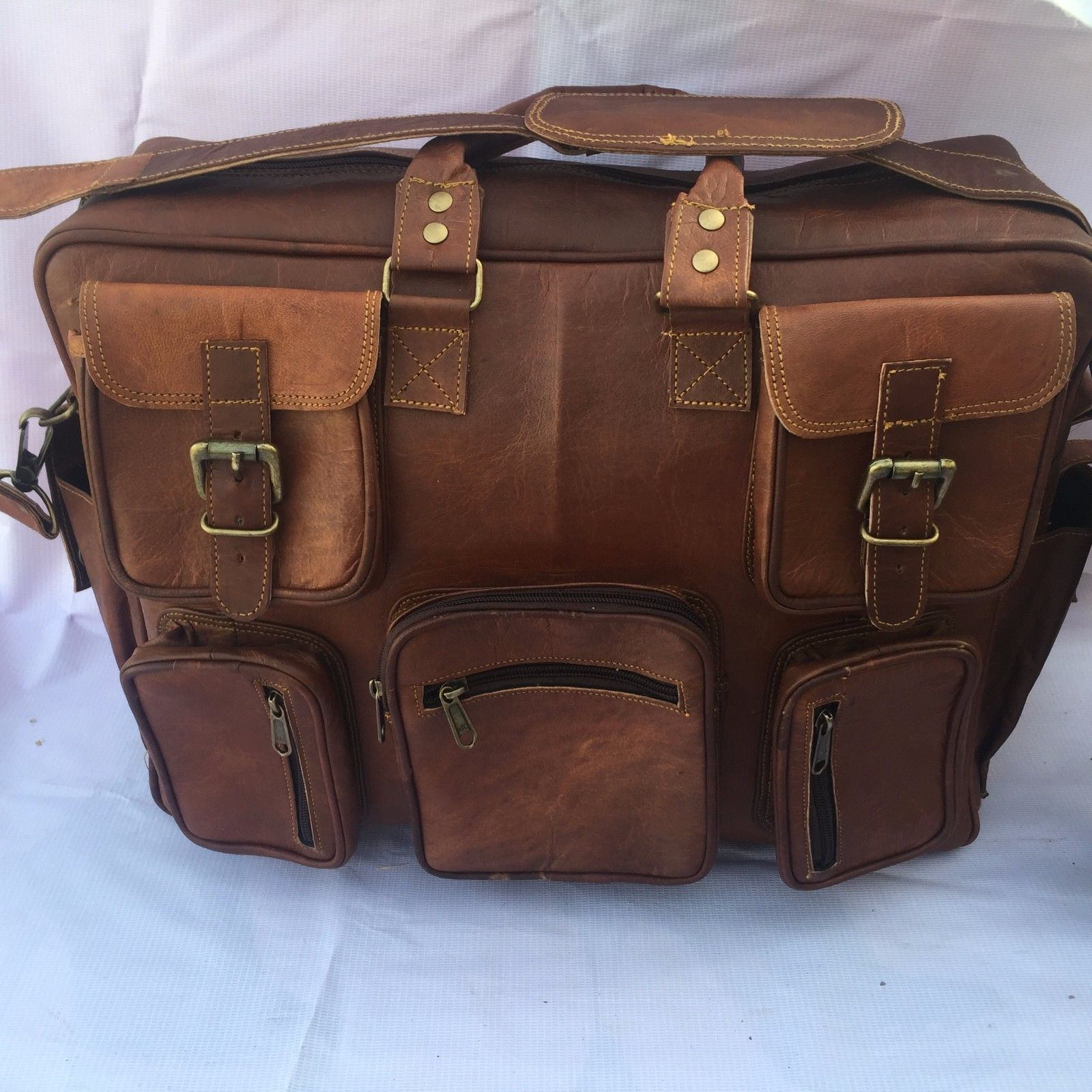 Goat Leather Gym Men Travel Luggage Bag Genuine Brown Vintage Duffle S New Bags