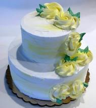 Fake Wedding Cake Two Tier Yellow & White Fake Cake Flowers Baby Decorat... - $59.39