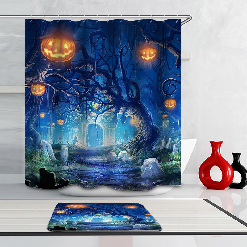 Party Happy Halloween 001 Shower Curtain Waterproof Polyester Fabric & Bath Mat