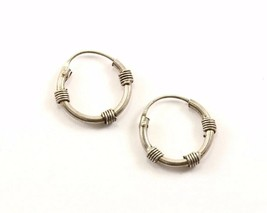 Vintage Round Twisted Cable Design Hoop Earrings 925 Sterling Silver ER 461 - $9.99