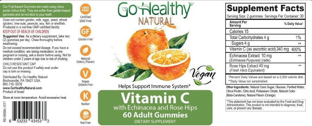 Go Healthy Natural Vitamin C Gummies with Echinacea and ...