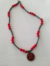 """Rustic red beaded Necklace with pendant 19"""" - $19.99"""