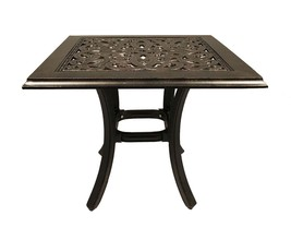 """Patio end table 24"""" square outdoor cast aluminum accent pool side furniture. image 1"""