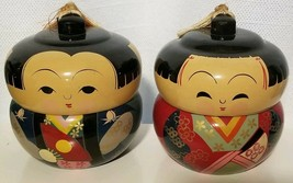 Rare Chinese Asian Boy & Girl Handpainted Figurine Set Jewelry /Safe Kee... - $118.79