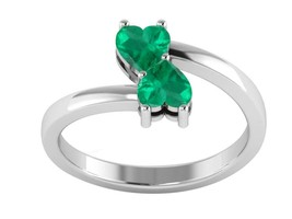 Green Onyx Heart Shape Gemstone Love Joint 925 Sterling Silver Ring - $17.79