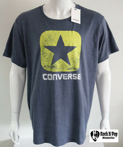 Mens Converse Graphic Tee One Star Logo Gray/Light Green Short Sleeve Co... - $21.23