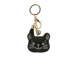 Black Kitten Tassel Bling Faux Suede Stuffed Pillow Key Chain Handbag Charm - $12.95