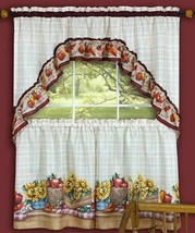 "3 pc Kitchen Curtains Set: 2 Tiers & Swag (57"" x 30"") FARMER""S MARKET by... - $19.79"