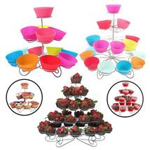 3/4/5 Niveles Metal Soporte para Cupcakes Fiesta Cumpleaños Boda Decorac... - $14.07+